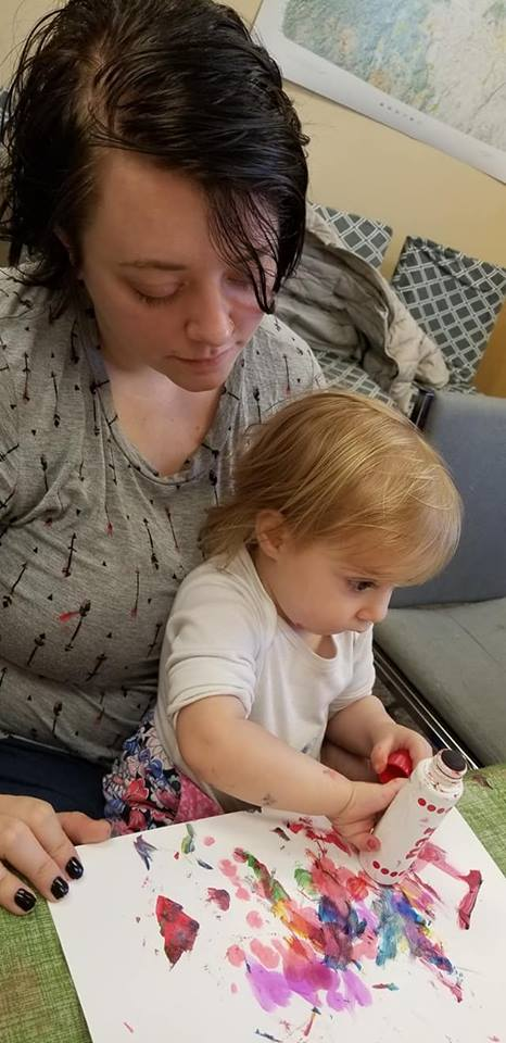 Painting with Mom, what fun!
