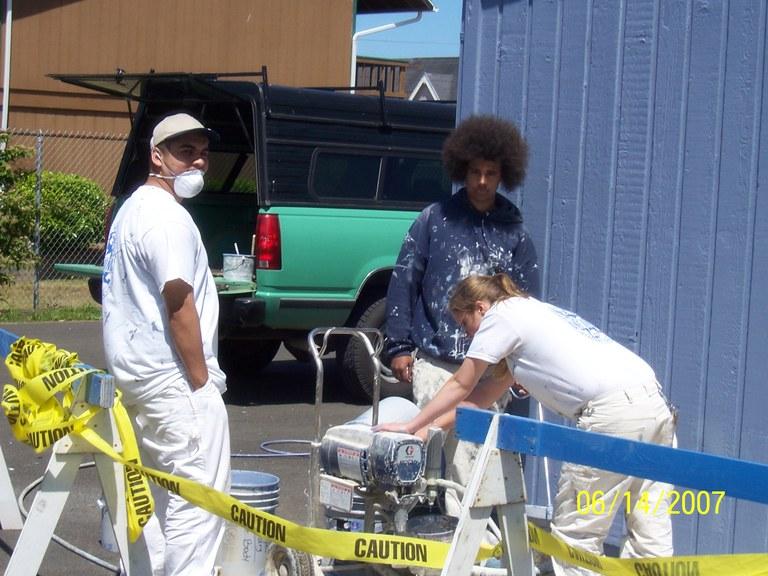 Job Corps. students mixing primer!