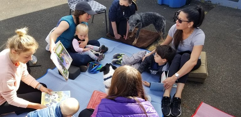 Pets, Kids, and Moms at the Waldport Library!